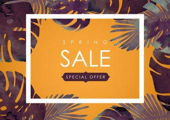 Floral flayer or discount voucher vector template. Trendy spring illustration. Tropical leaves texture on yellow blur background.