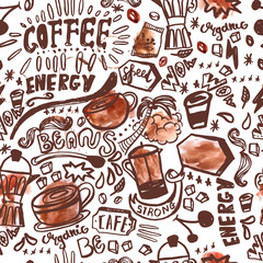 seamless ink doodle coffee pattern on white background with watercolor stains, hand drawn vector illustration