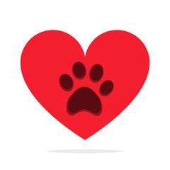 Animal paw in heart isolated on white love animals concept