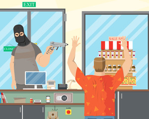 The robber in the mask went to the store to collect money from the cash register and threatened the seller with a gun. Vector illustration.