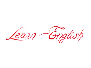 """Handwriting """"Learn English"""" watercolor with on a white background"""