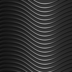 Background of dark, metallic, shiny, wavy bands. Modern 3d style. Wallpaper for the website