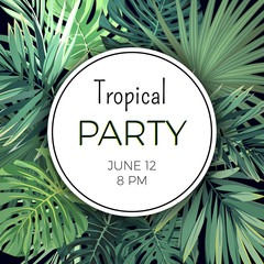 Summer hawaiian party flyer design with green tropical plants and palm leaves.
