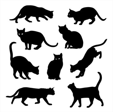 Black Cat silhouette vector icon set isolated on white