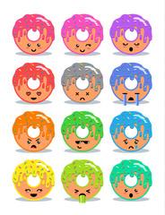 Donut with glaze set of emoji facial expressions.