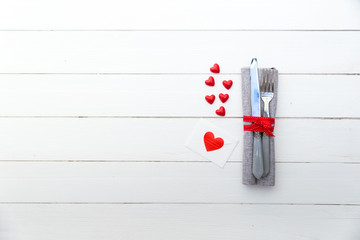 Simple table setting with hearts