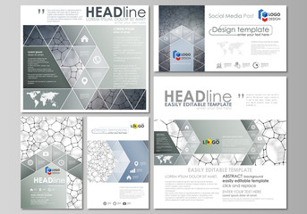 Social media posts set. Business design templates. Vector layouts in popular formats. Chemistry pattern, molecular texture, polygonal molecule structure, cell. Medicine, science, microbiology concept.