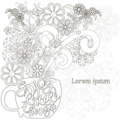 Monochrome doodle hand drawn cap with flowers, lettering Enjoy the little things. Anti stress stock vector illustration