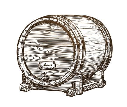 Hand drawn vintage wooden wine cask. Drink, oak barrel sketch. Vector illustration