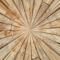 Wooden planks texture; distorted view - rectangular to polar