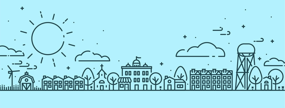 Small Town in Spring Scene - Outlined vectors with Blue background