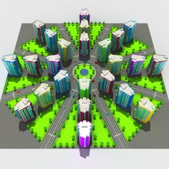 Scheme of the urban episode with the same type of building typical high-rise buildings. 3D illustration.