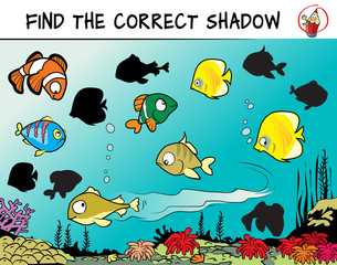 Funny fishes. Find the correct shadow. Educational game for children. Cartoon vector illustration