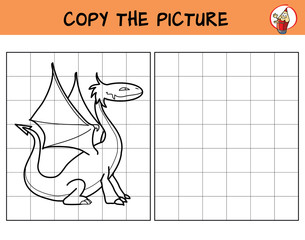 Dragon. Copy the picture. Coloring book. Educational game for children. Cartoon vector illustration
