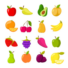 Cartoon fruits vector clipart collection isolated