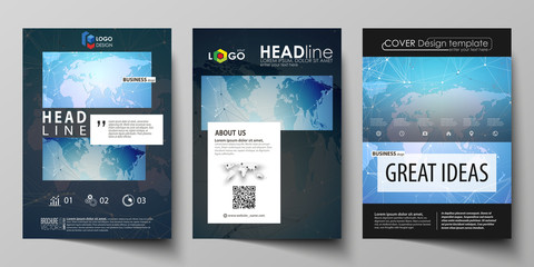 The black colored vector illustration of editable layout of A4 format covers design templates for brochure, magazine, flyer, booklet. World map on blue, geometric technology design, polygonal texture.