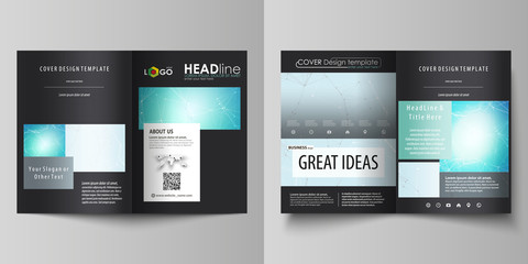 The black colored vector illustration of the editable layout of two A4 format modern covers design templates for brochure, flyer, booklet. Futuristic high tech background, dig data technology concept.