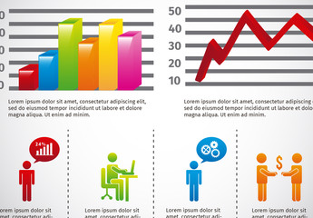 Multipurpose 3D Bar and Line Graphs with Business Pictograms