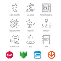 Conversation, global network and direction icons. Save nature, maze and book linear signs. Bell and phone ringtone flat line icons. New tag, shield and calendar web icons. Download arrow. Vector