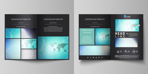 The black colored vector illustration of editable layout of two A4 format modern covers design templates for brochure, flyer, booklet. Molecule structure, connecting lines and dots. Technology concept