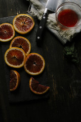 Blood Oranges with Knife