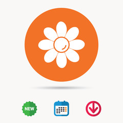 Flower icon. Florist plant with petals symbol. Calendar, download arrow and new tag signs. Colored flat web icons. Vector