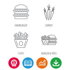 Hamburger, carrot and chips icons. Burger and chips fries linear signs. Award medal, growth chart and opened book web icons. Download arrow. Vector