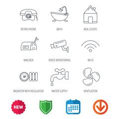 Wifi, video camera and mailbox icons. Real estate, bath and water supply linear signs. Radiator with heat regulator, phone icons. New tag, shield and calendar web icons. Download arrow. Vector