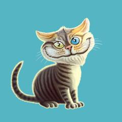 Cartoon cat enjoys the arrival of spring. Сheerful pet illustration.
