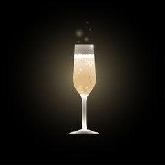 Glass of champagne Vector illustration Glowing glass of champagne Glass of sparkling wine on black background