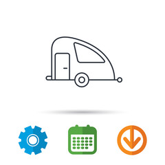 Travel van icon. Holiday camper sign. Calendar, cogwheel and download arrow signs. Colored flat web icons. Vector