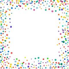 Dense watercolor confetti on white background. Rainbow colored watercolor confetti chaotic border. Colorful hand painted illustration.