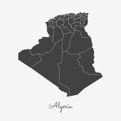 Algeria region map: grey outline on white background. Detailed map of Algeria regions. Vector illustration.