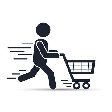 Running man pushing shopping cart icon. Vector illustration.