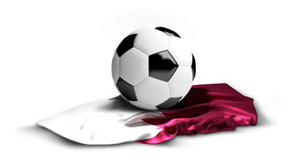 soccer football Qatar flag. 3d rendering isolated