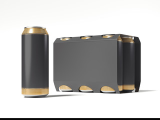 Beer can and black package. 3d rendering