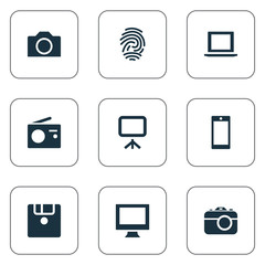 Vector Illustration Set Of Simple Device Icons. Elements Monitor, Photographing, Fingerprint And Other Synonyms Mobile, Smartphone And Projector.
