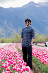 Man standing in Tulip Field