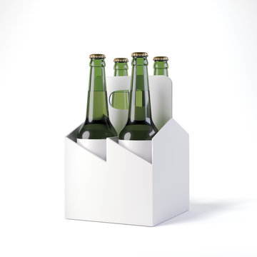 Blank beer package with four bottles. 3d rendering