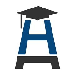 h logo vector. graduation symbol.