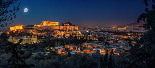Akropolis in Athen bei Vollmond Fototapete