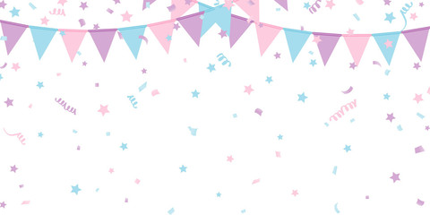 Buntings kids garland isolated on white background Vector Wall mural