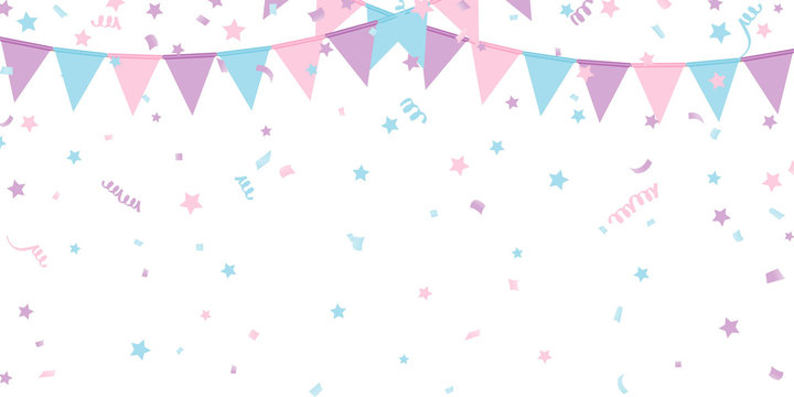 Buntings kids garland isolated on white background Vector