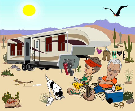 Cartoon with an older couple with a large fifth wheel camping  in the desert, they are relaxing in lawn chairs with drinks, and there are lots of desert animals, cacti around them.