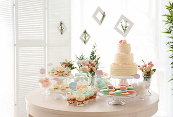 Canvas Prints Candy Table with sweets prepared for party