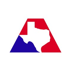 Texas map inside letter A