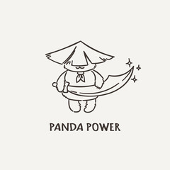 Power panda with a saber sword. Wildlife, ecology, peace and friendship.
