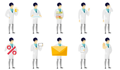 Vector set of illustrations with doctor characters