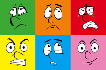 Human expressions on six colors backgrounds
