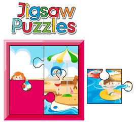 Jigsaw puzzle game with kids on beach
